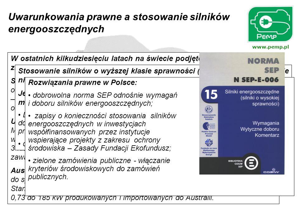 www.pemp.pl W ostatnich kilkudziesięciu latach na świecie podjęto szereg inicjatyw dla zmniejszenia zużycia energii w napędach elektrycznych np.: Stan