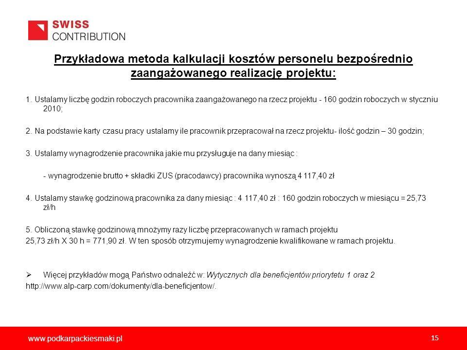 www.podkarpackiesmaki.pl 15 1. Ustalamy liczbę godzin roboczych pracownika zaangażowanego na rzecz projektu - 160 godzin roboczych w styczniu 2010; 2.