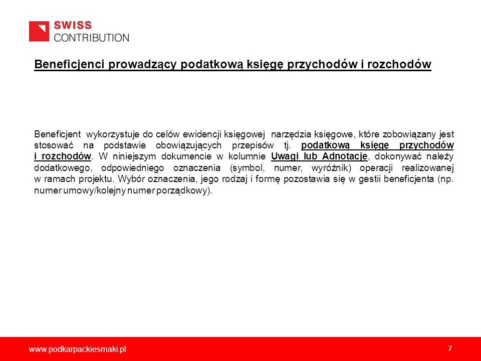 www.podkarpackiesmaki.pl 8 Zasady opisu dokumentów: Dokumenty księgowe (w szczególności kopie faktur lub innych dokumentów księgowych o równoważnej wartości dowodowej dotyczące projektu) muszą być właściwie opisane, tak aby z opisu jednoznacznie i bezpośrednio wynikał ich związek z projektem.