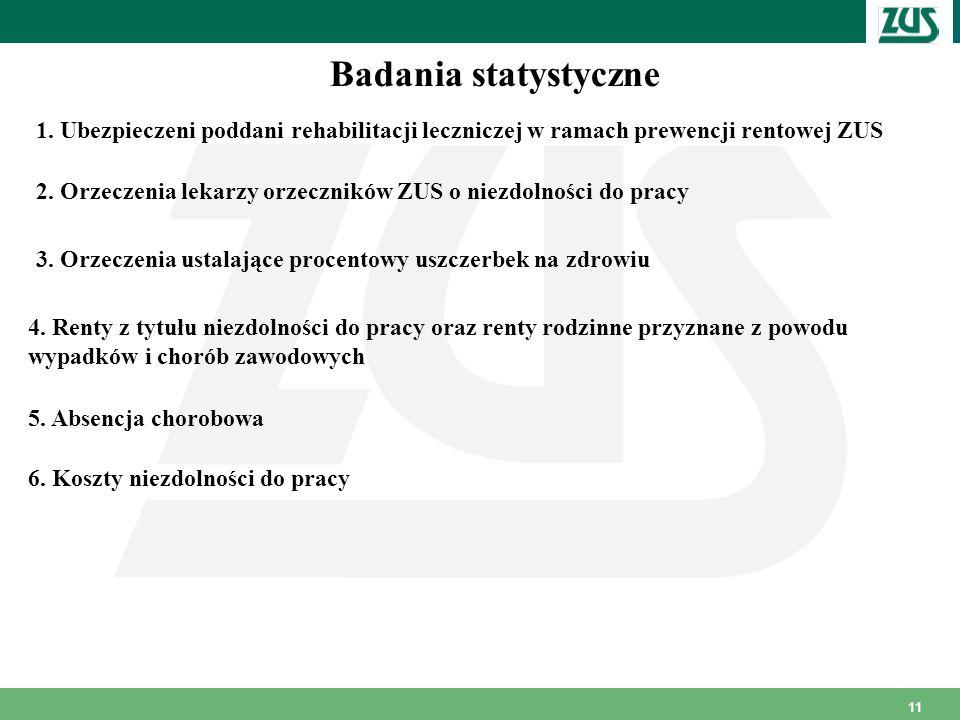 11 Badania statystyczne 1. Ubezpieczeni poddani rehabilitacji leczniczej w ramach prewencji rentowej ZUS 2. Orzeczenia lekarzy orzeczników ZUS o niezd