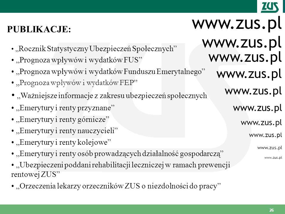 26 www.zus.pl PUBLIKACJE: Rocznik Statystyczny Ubezpieczeń Społecznych Prognoza wpływów i wydatków FUS Prognoza wpływów i wydatków Funduszu Emerytalne