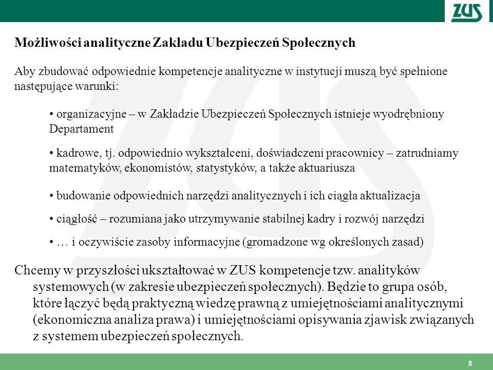8 Możliwości analityczne Zakładu Ubezpieczeń Społecznych Aby zbudować odpowiednie kompetencje analityczne w instytucji muszą być spełnione następujące