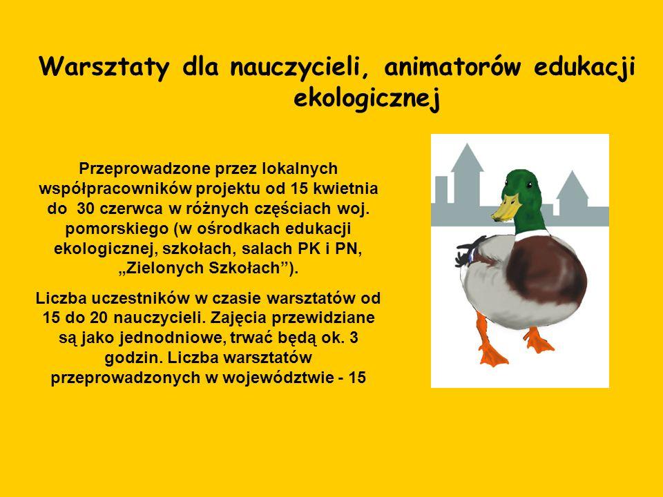 Warsztaty dla nauczycieli, animatorów edukacji ekologicznej Przeprowadzone przez lokalnych współpracowników projektu od 15 kwietnia do 30 czerwca w ró