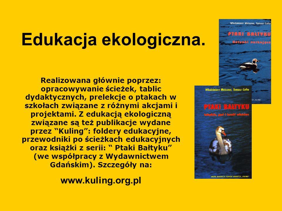 POZNAJEMY PTAKI WODNE WOKÓŁ NAS - projekt edukacyjny 1)wydanie scenariuszy zajęć dla nauczycieli, animatorów edukacji ekologicznej w województwie pomorskim.