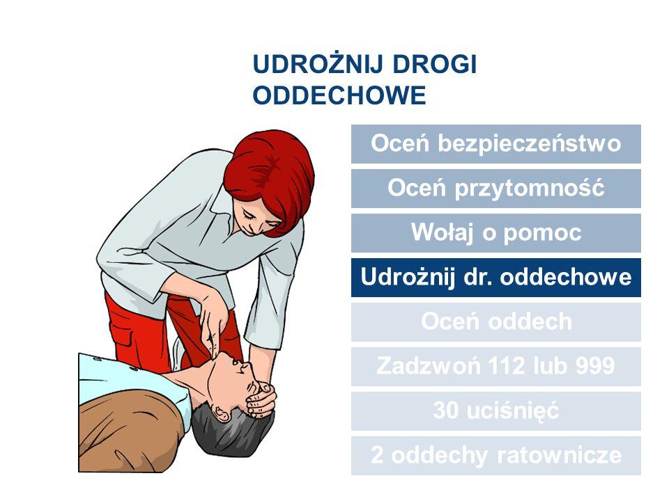 UDROŻNIJ DROGI ODDECHOWE Oceń bezpieczeństwo Oceń przytomność Wołaj o pomoc Udrożnij dr. oddechowe Oceń oddech Zadzwoń 112 lub 999 30 uciśnięć 2 oddec