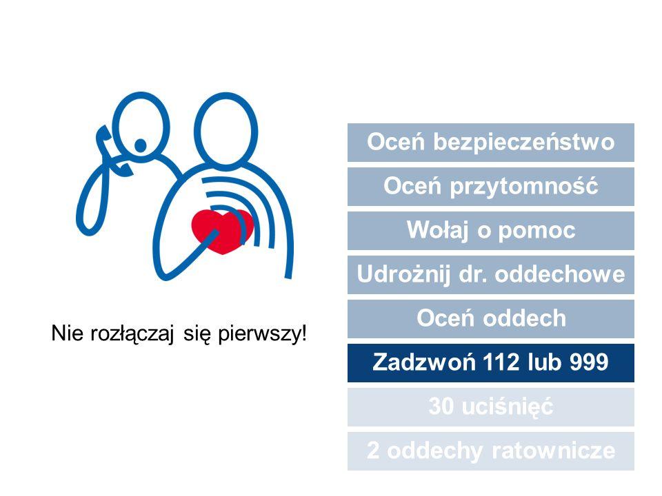 Oceń bezpieczeństwo Oceń przytomność Wołaj o pomoc Udrożnij dr. oddechowe Oceń oddech Zadzwoń 112 lub 999 30 uciśnięć 2 oddechy ratownicze Nie rozłącz