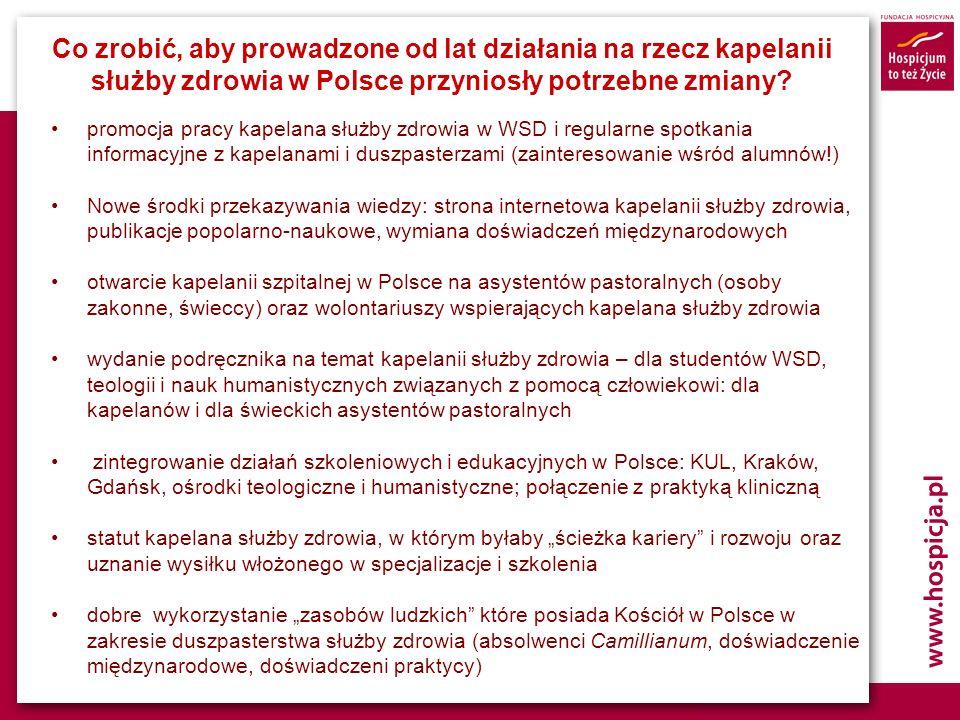 Co zrobić, aby prowadzone od lat działania na rzecz kapelanii służby zdrowia w Polsce przyniosły potrzebne zmiany? promocja pracy kapelana służby zdro