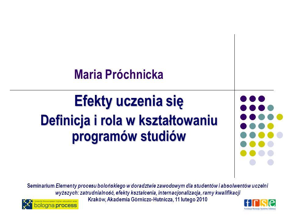 Cel Upowszechnienie stosowania opisu kwalifikacji w kategoriach efektów uczenia się w obszarze edukacji i rynku pracy