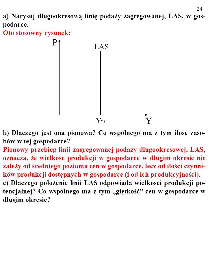 23 a) Narysuj długookresową linię podaży zagregowanej, LAS, w gos- podarce. Oto stosowny rysunek: b) Dlaczego jest ona pionowa? Co wspólnego ma z tym