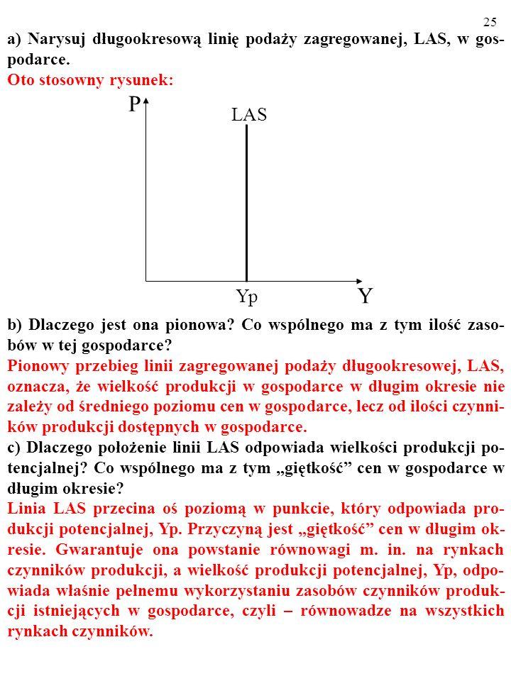 24 a) Narysuj długookresową linię podaży zagregowanej, LAS, w gos- podarce. Oto stosowny rysunek: b) Dlaczego jest ona pionowa? Co wspólnego ma z tym