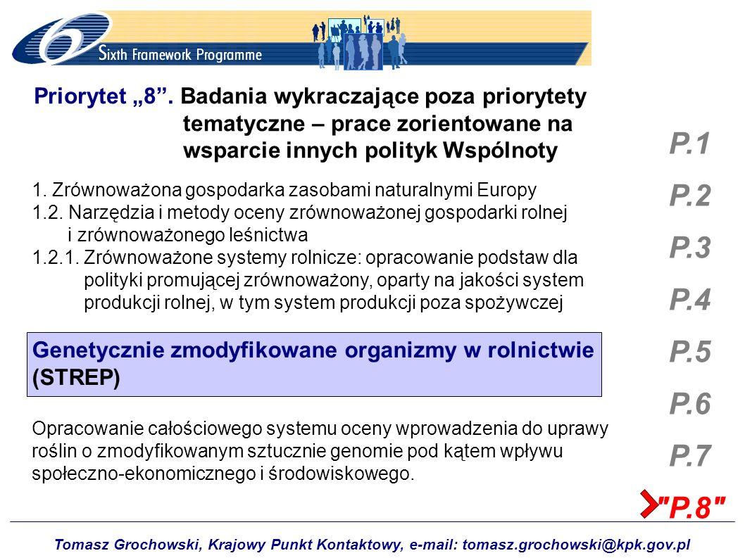 Tomasz Grochowski, Krajowy Punkt Kontaktowy, e-mail: tomasz.grochowski@kpk.gov.pl P.1 P.2 P.3 P.4 P.5 P.6 P.7