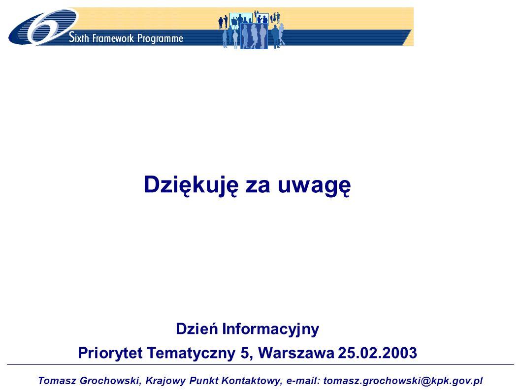 Tomasz Grochowski, Krajowy Punkt Kontaktowy, e-mail: tomasz.grochowski@kpk.gov.pl Dziękuję za uwagę Dzień Informacyjny Priorytet Tematyczny 5, Warszaw