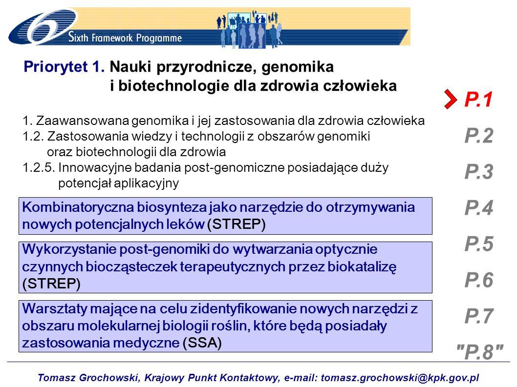 Tomasz Grochowski, Krajowy Punkt Kontaktowy, e-mail: tomasz.grochowski@kpk.gov.pl P.1 P.2 P.3 P.4 P.5 P.6 P.7 P.8 Priorytet 8.