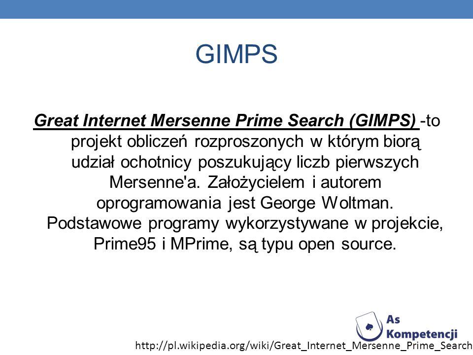 GIMPS Great Internet Mersenne Prime Search (GIMPS) -to projekt obliczeń rozproszonych w którym biorą udział ochotnicy poszukujący liczb pierwszych Mer