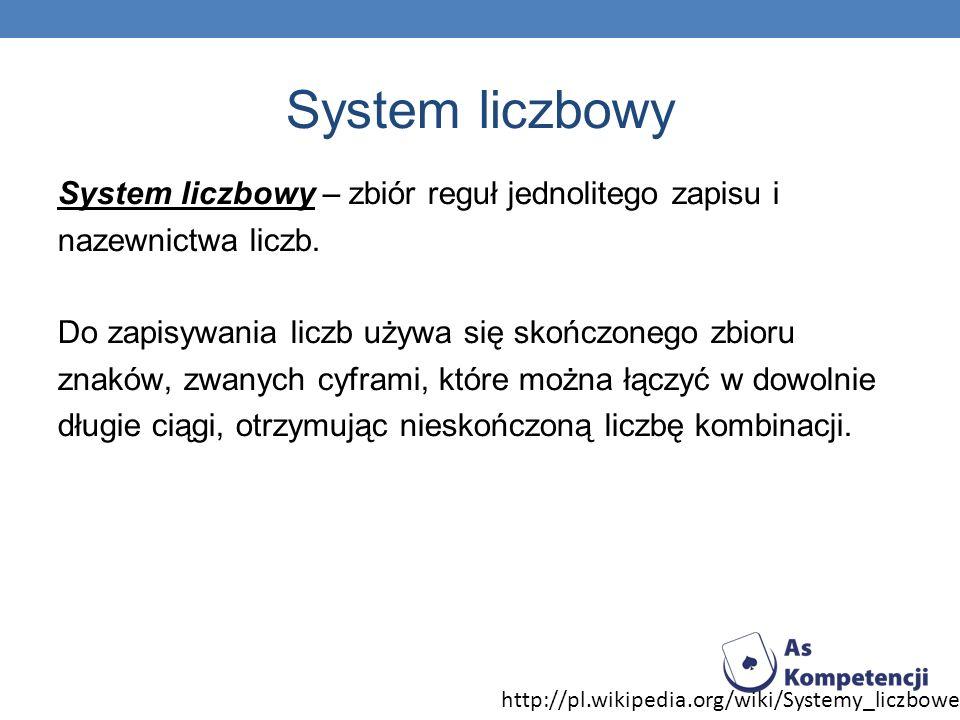 System liczbowy System liczbowy – zbiór reguł jednolitego zapisu i nazewnictwa liczb. Do zapisywania liczb używa się skończonego zbioru znaków, zwanyc