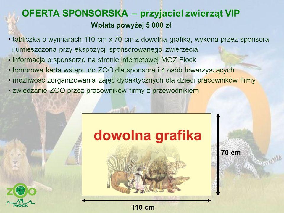 OFERTA SPONSORSKA – przyjaciel zwierząt VIP Wpłata powyżej 5 000 zł tabliczka o wymiarach 110 cm x 70 cm z dowolną grafiką, wykona przez sponsora i um