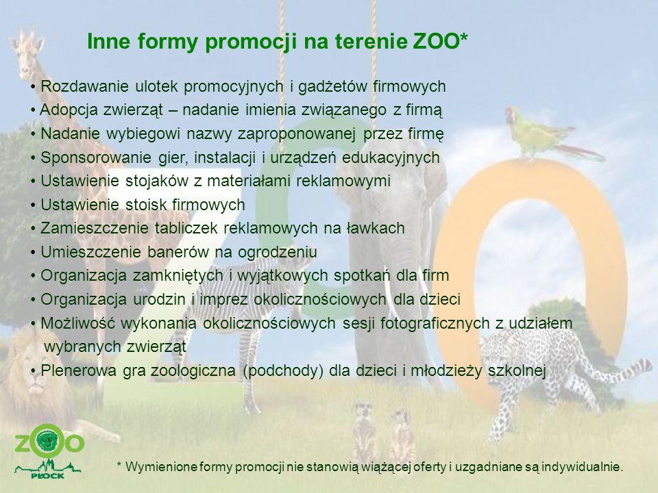 Inne formy promocji na terenie ZOO* Rozdawanie ulotek promocyjnych i gadżetów firmowych Adopcja zwierząt – nadanie imienia związanego z firmą Nadanie