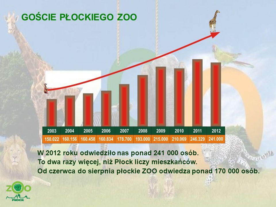 GOŚCIE PŁOCKIEGO ZOO W 2012 roku odwiedziło nas ponad 241 000 osób. To dwa razy więcej, niż Płock liczy mieszkańców. Od czerwca do sierpnia płockie ZO