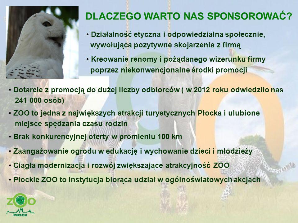OFERTA SPONSORSKA – zielony przyjaciel zwierząt Wpłata do 600 zł tabliczka o wymiarach 21 cm x 10 cm wykonana przez Miejski Ogród Zoologiczny umieszczona przy ekspozycji adoptowanego zwierzęcia informacja o sponsorze na stronie internetowej MOZ Płock honorowa karta wstępu do ZOO dla 1 osoby 21 cm 10 cm
