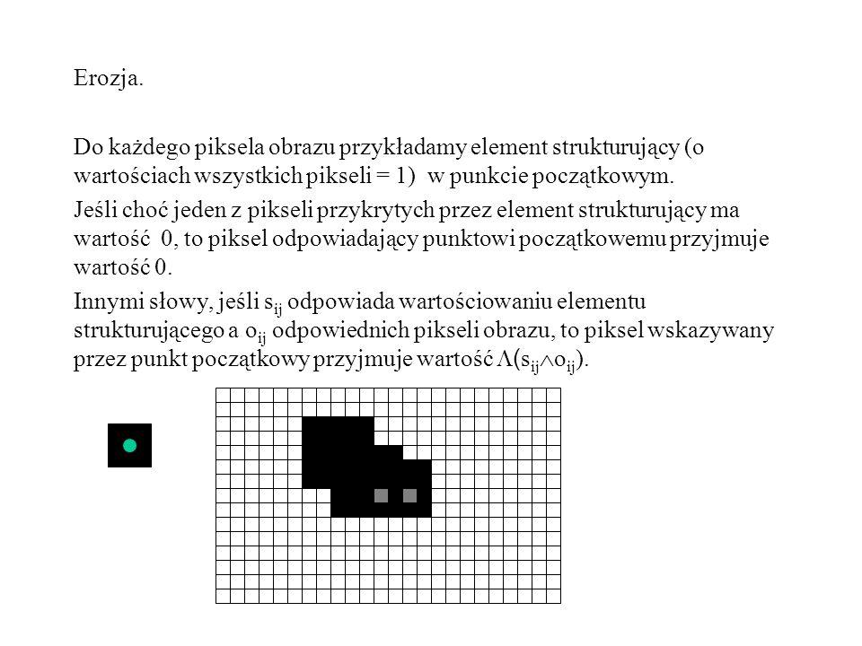 Erozja. Do każdego piksela obrazu przykładamy element strukturujący (o wartościach wszystkich pikseli = 1) w punkcie początkowym. Jeśli choć jeden z p