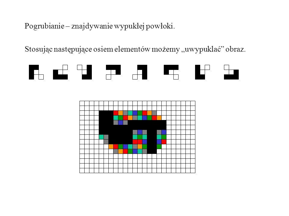 Pogrubianie – znajdywanie wypukłej powłoki. Stosując następujące osiem elementów możemy uwypuklać obraz.