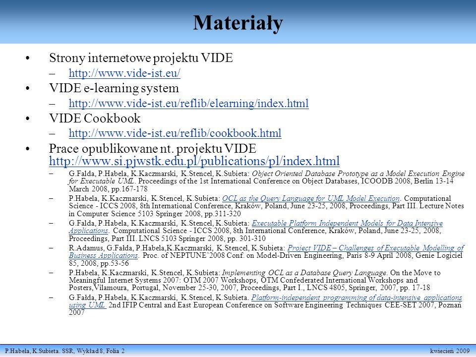P.Habela, K.Subieta. SSR, Wykład 8, Folia 2 kwiecień 2009 Materiały Strony internetowe projektu VIDE –http://www.vide-ist.eu/http://www.vide-ist.eu/ V
