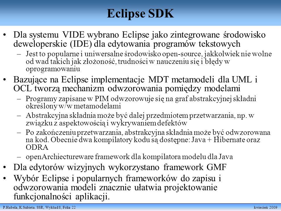 P.Habela, K.Subieta. SSR, Wykład 8, Folia 22 kwiecień 2009 Eclipse SDK Dla systemu VIDE wybrano Eclipse jako zintegrowane środowisko deweloperskie (ID
