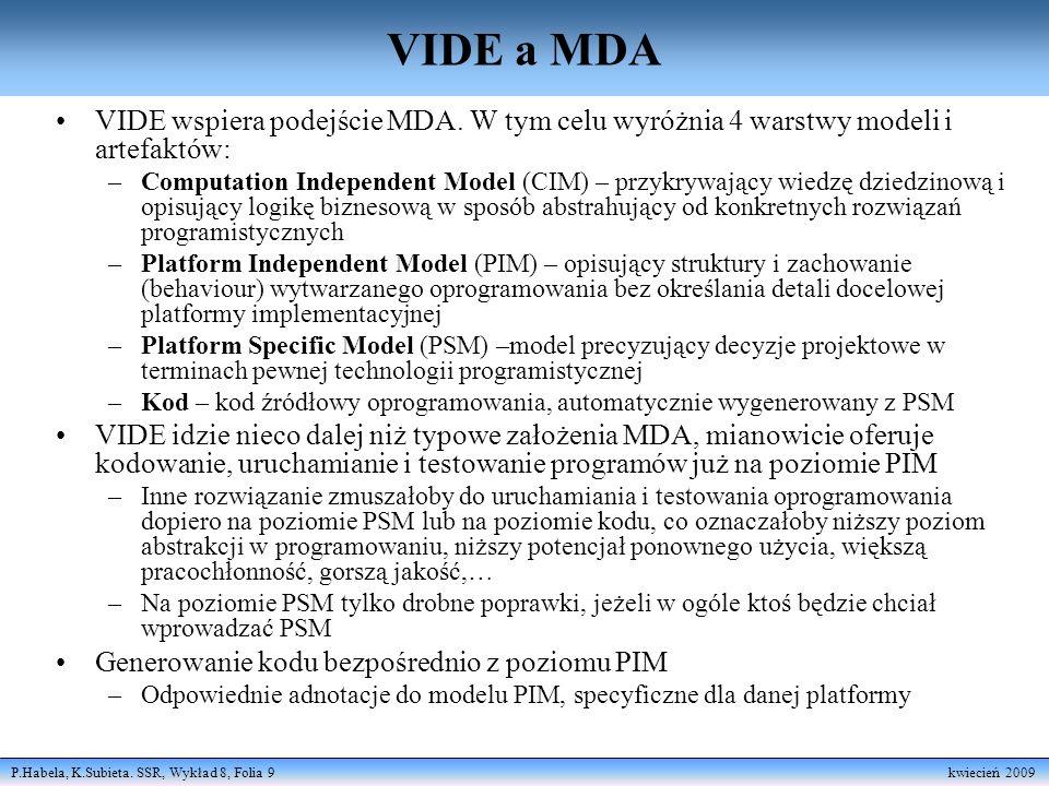 P.Habela, K.Subieta. SSR, Wykład 8, Folia 9 kwiecień 2009 VIDE a MDA VIDE wspiera podejście MDA. W tym celu wyróżnia 4 warstwy modeli i artefaktów: –C