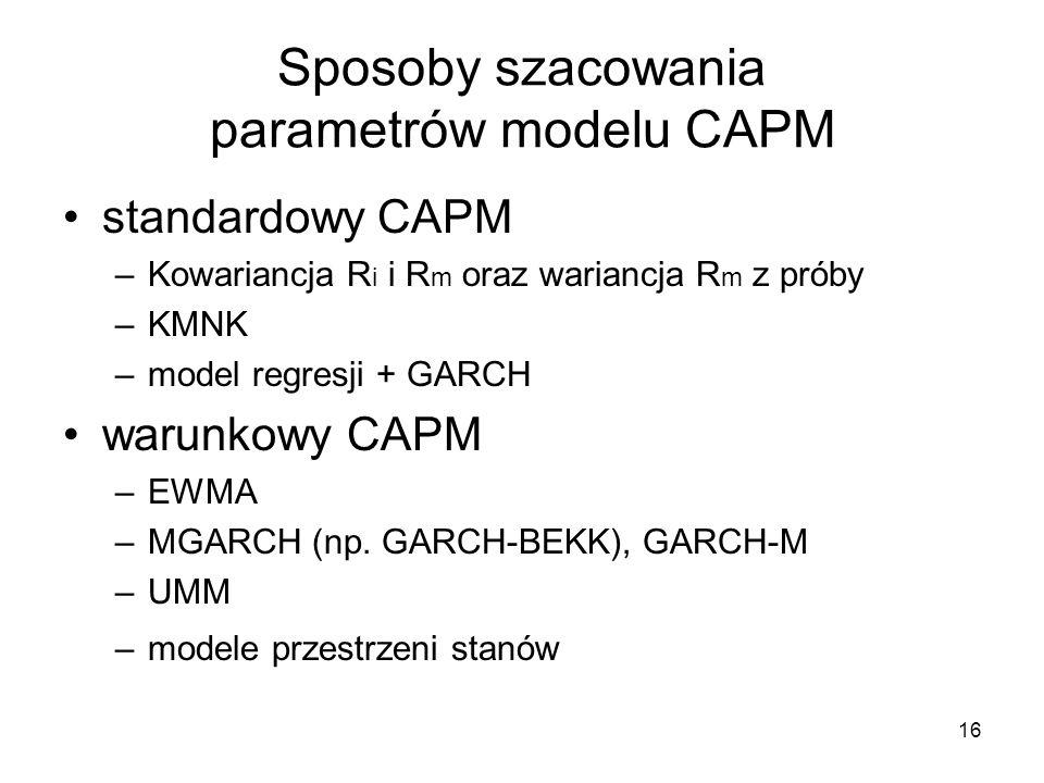 16 Sposoby szacowania parametrów modelu CAPM standardowy CAPM –Kowariancja R i i R m oraz wariancja R m z próby –KMNK –model regresji + GARCH warunkow