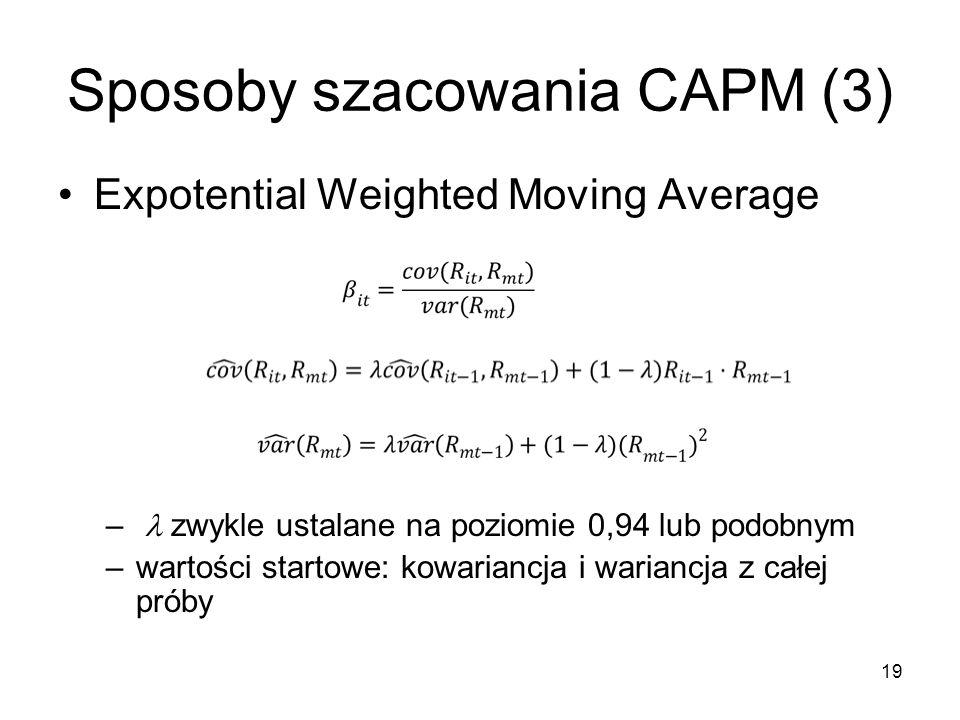 19 Sposoby szacowania CAPM (3) Expotential Weighted Moving Average – zwykle ustalane na poziomie 0,94 lub podobnym –wartości startowe: kowariancja i w