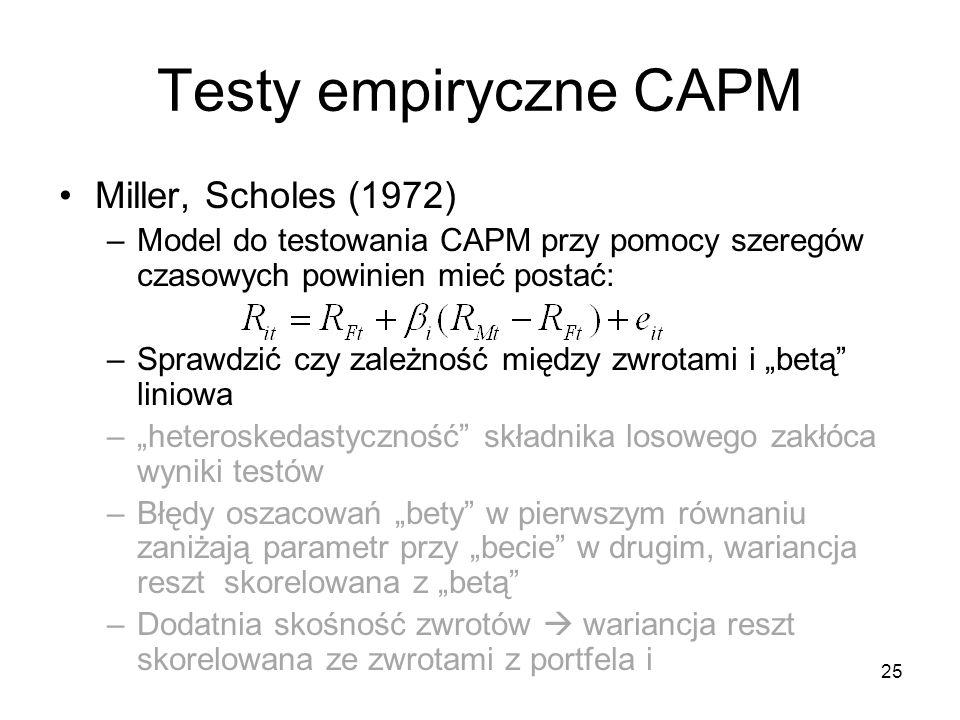 25 Testy empiryczne CAPM Miller, Scholes (1972) –Model do testowania CAPM przy pomocy szeregów czasowych powinien mieć postać: –Sprawdzić czy zależnoś