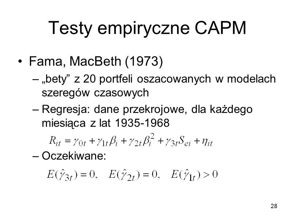 28 Testy empiryczne CAPM Fama, MacBeth (1973) –bety z 20 portfeli oszacowanych w modelach szeregów czasowych –Regresja: dane przekrojowe, dla każdego