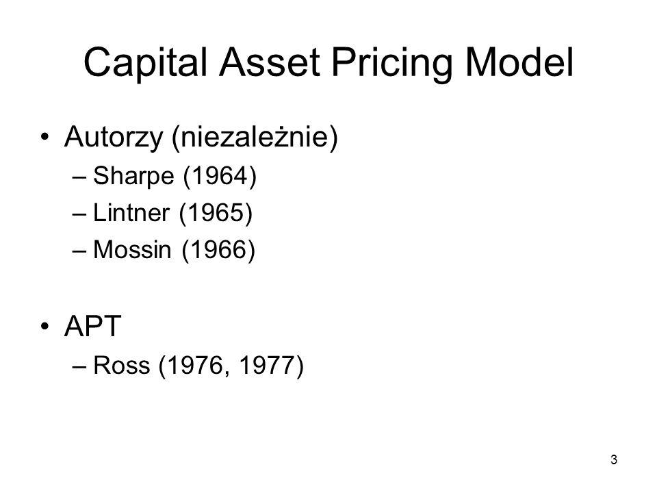 3 Capital Asset Pricing Model Autorzy (niezależnie) –Sharpe (1964) –Lintner (1965) –Mossin (1966) APT –Ross (1976, 1977)