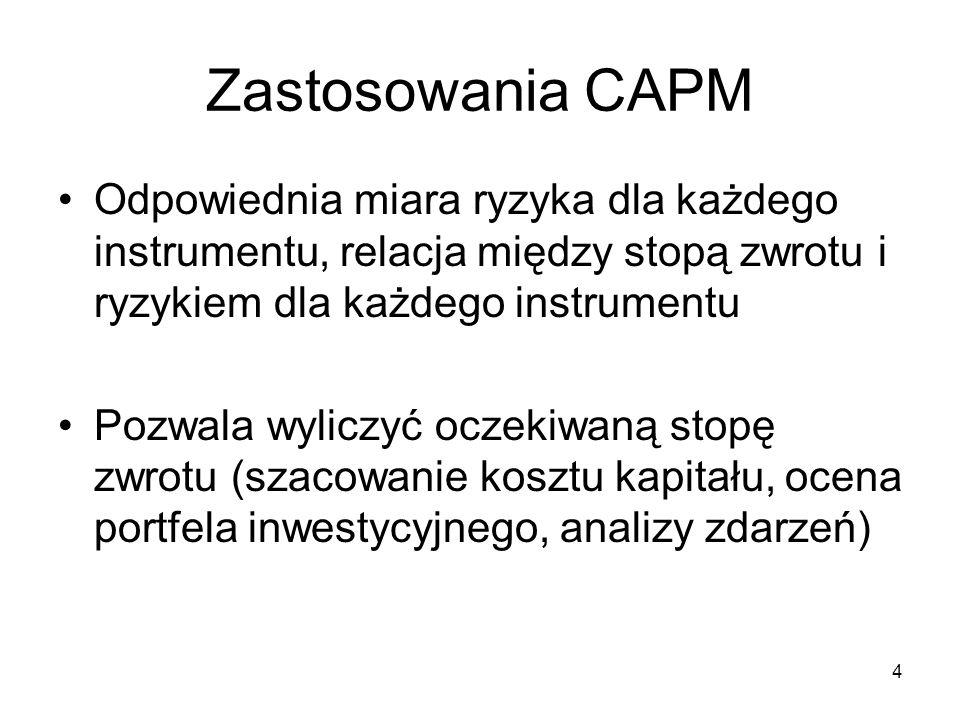 5 Założenia CAPM Brak kosztów transakcyjnych Aktywa finansowe nieskończenie podzielne Brak podatku dochodowego Pojedynczy inwestor nie jest w stanie zmienić ceny instrumentu finansowego (konkurencja doskonała) Inwestorzy podejmują decyzje wyłącznie na podstawie wartości oczekiwanych zwrotów i odchyleń standardowych swoich portfeli
