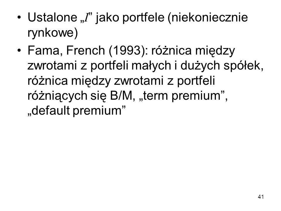 41 Ustalone I jako portfele (niekoniecznie rynkowe) Fama, French (1993): różnica między zwrotami z portfeli małych i dużych spółek, różnica między zwr