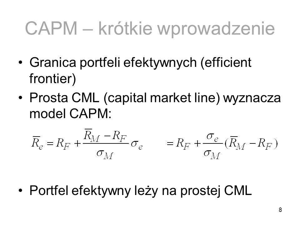 8 CAPM – krótkie wprowadzenie Granica portfeli efektywnych (efficient frontier) Prosta CML (capital market line) wyznacza model CAPM: Portfel efektywn