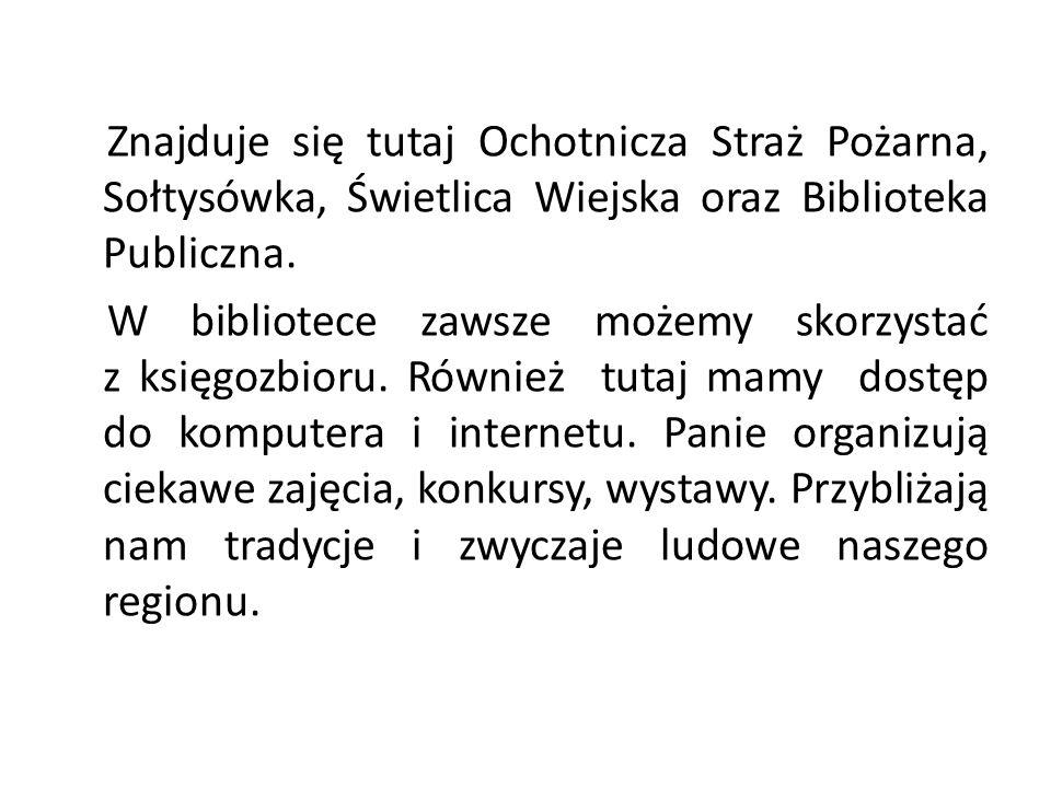 Znajduje się tutaj Ochotnicza Straż Pożarna, Sołtysówka, Świetlica Wiejska oraz Biblioteka Publiczna. W bibliotece zawsze możemy skorzystać z księgozb