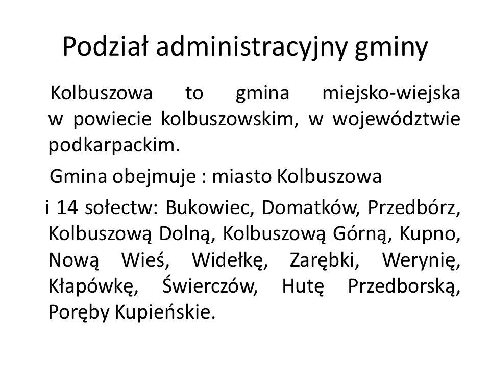 Podział administracyjny gminy Kolbuszowa to gmina miejsko-wiejska w powiecie kolbuszowskim, w województwie podkarpackim. Gmina obejmuje : miasto Kolbu