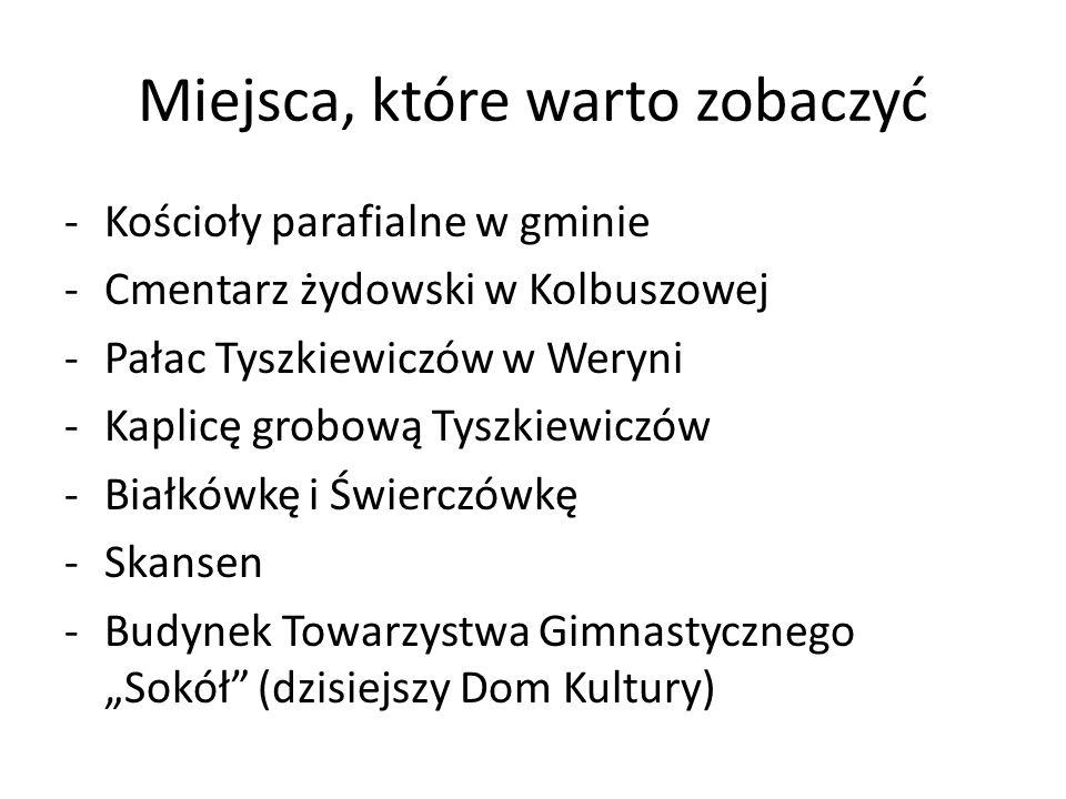 Miejsca, które warto zobaczyć -Kościoły parafialne w gminie -Cmentarz żydowski w Kolbuszowej -Pałac Tyszkiewiczów w Weryni -Kaplicę grobową Tyszkiewic