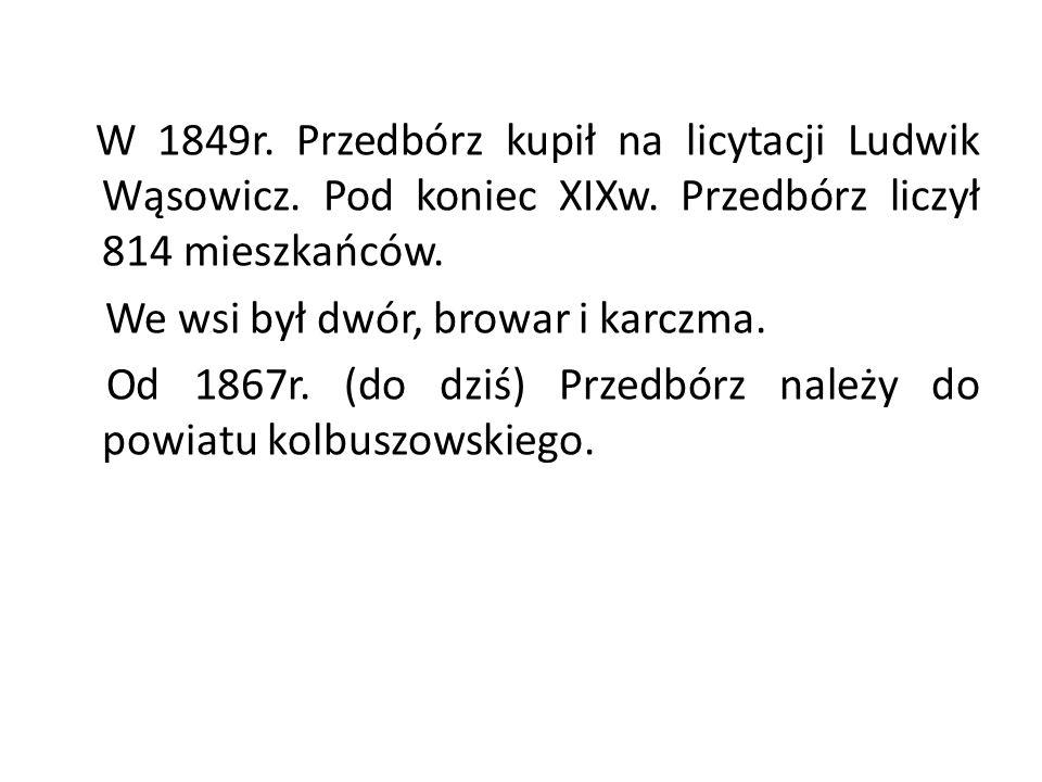 W 1849r. Przedbórz kupił na licytacji Ludwik Wąsowicz. Pod koniec XIXw. Przedbórz liczył 814 mieszkańców. We wsi był dwór, browar i karczma. Od 1867r.