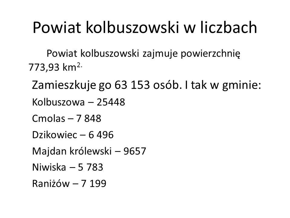 Powiat kolbuszowski w liczbach Powiat kolbuszowski zajmuje powierzchnię 773,93 km 2. Zamieszkuje go 63 153 osób. I tak w gminie: Kolbuszowa – 25448 Cm
