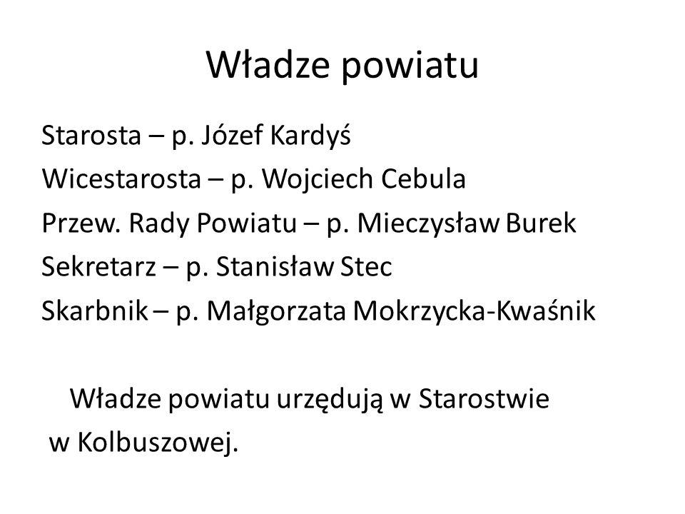 Władze powiatu Starosta – p. Józef Kardyś Wicestarosta – p. Wojciech Cebula Przew. Rady Powiatu – p. Mieczysław Burek Sekretarz – p. Stanisław Stec Sk