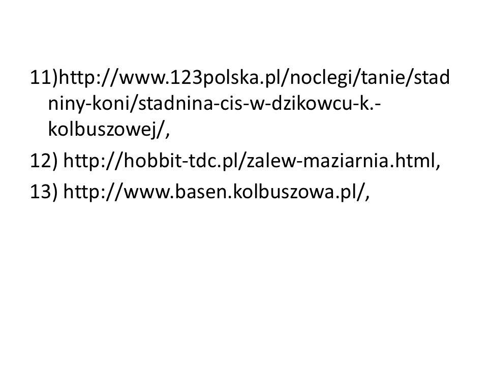 11)http://www.123polska.pl/noclegi/tanie/stad niny-koni/stadnina-cis-w-dzikowcu-k.- kolbuszowej/, 12) http://hobbit-tdc.pl/zalew-maziarnia.html, 13) h