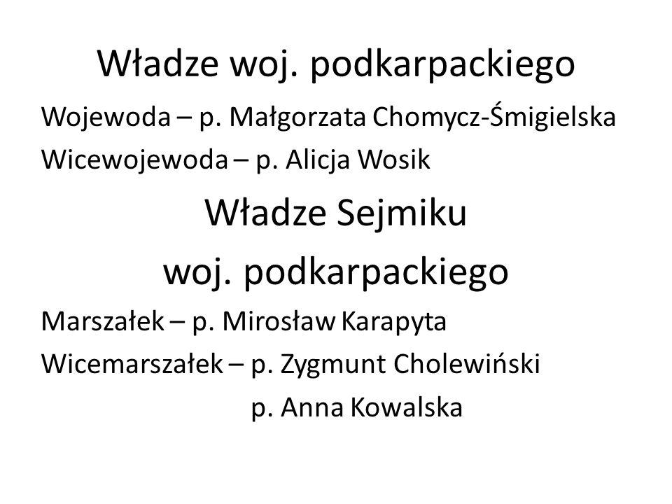 Władze woj. podkarpackiego Wojewoda – p. Małgorzata Chomycz-Śmigielska Wicewojewoda – p. Alicja Wosik Władze Sejmiku woj. podkarpackiego Marszałek – p