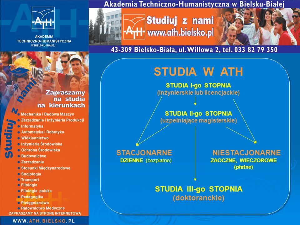 STUDIA W ATH STACJONARNE NIESTACJONARNE DZIENNE ZAOCZNE, (bezpłatne) WIECZOROWE (płatne) UMOWA ZE STUDENTEM (gwarancja dla studenta niezmienności czesnego przez cały okres studiów)