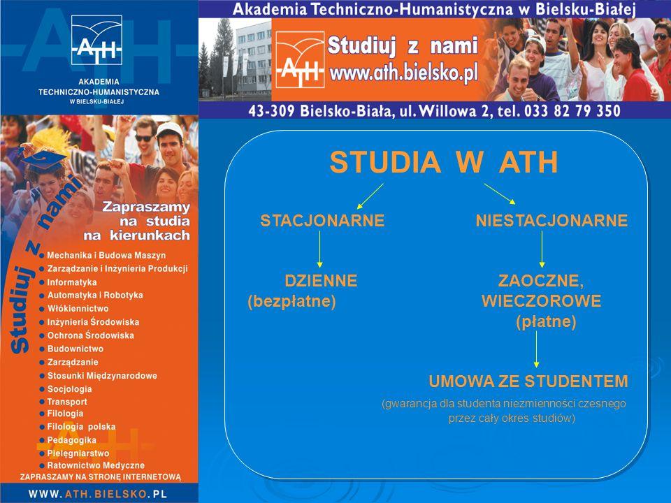 STUDIA W ATH STACJONARNE NIESTACJONARNE DZIENNE ZAOCZNE, (bezpłatne) WIECZOROWE (płatne) UMOWA ZE STUDENTEM (gwarancja dla studenta niezmienności czes
