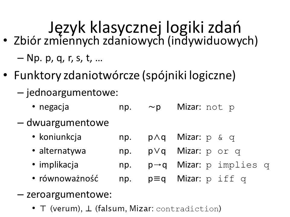 Język klasycznej logiki zdań Zbiór zmiennych zdaniowych (indywiduowych) – Np. p, q, r, s, t, … Funktory zdaniotwórcze (spójniki logiczne) – jednoargum