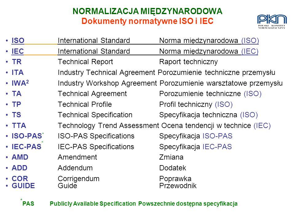 NORMALIZACJA MIĘDZYNARODOWA Dokumenty normatywne ISO i IEC ISOInternational Standard Norma międzynarodowa (ISO) IECInternational Standard Norma między