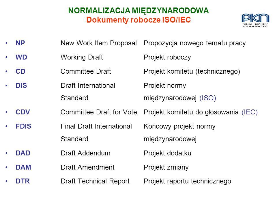 NORMALIZACJA MIĘDZYNARODOWA Dokumenty robocze ISO/IEC NPNew Work Item ProposalPropozycja nowego tematu pracy WDWorking DraftProjekt roboczy CDCommitte