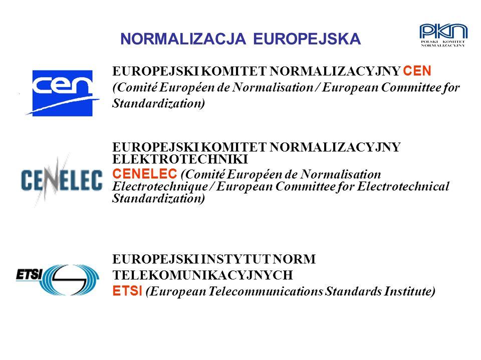 NORMALIZACJA EUROPEJSKA EUROPEJSKI KOMITET NORMALIZACYJNY CEN (Comité Européen de Normalisation / European Committee for Standardization) EUROPEJSKI K